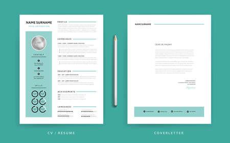 CV / Resume design template and cover letter design green background vector