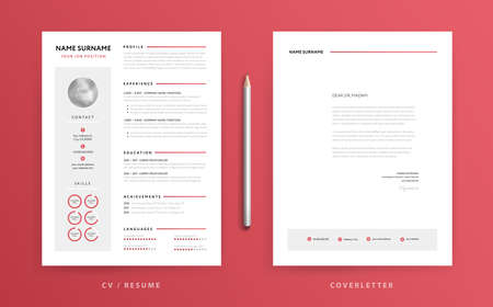 Clean resume and cover letter template on red background.
