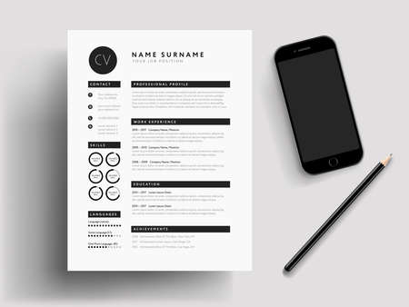 Professional CV / Resume modern mockup, mobile phone, pencil stationary. Job search illustration. Black and white high quality vector Illustration