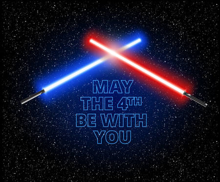 May the 4th be with you illustration with two crossed light swords - vector illustration