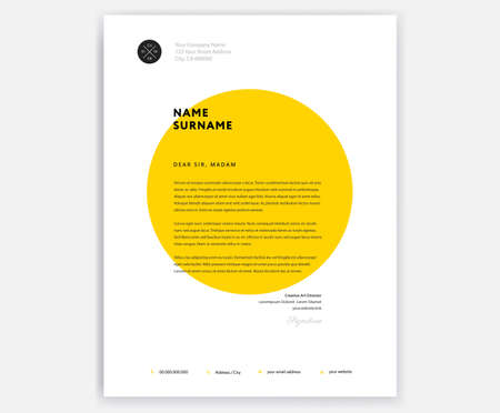 Creative letterhead template design  yellow cover letter vector sample illustration