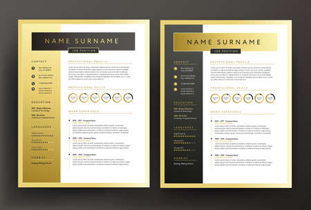 Expert CV / resume template in black and gold colors - professional curriculum vitae vector design sample - golden background Vectores