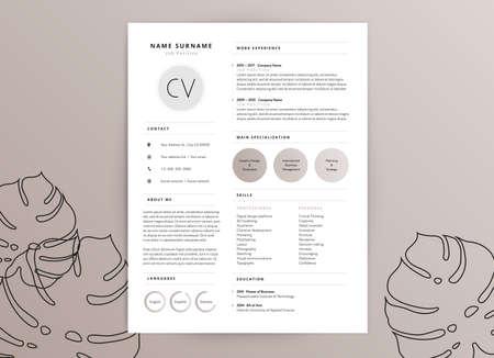 Diseño de plantilla de curriculum vitae cv femenino elegante Foto de archivo - 99117811