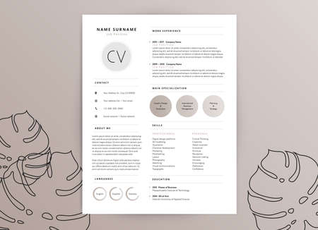 Elegant feminine CV resume template design Illustration