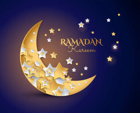 Ramadan kareem magische nacht achtergrond vector Eid Mubarak