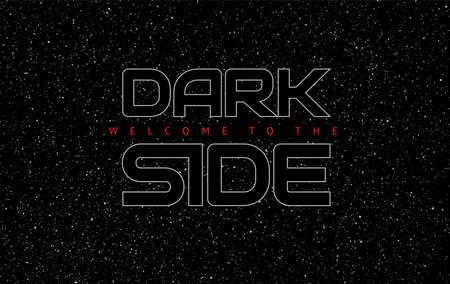 Sfondo nero spazio astratto lato oscuro - lettere incandescente su sfondo cielo stellato - illustrazione vettoriale Vettoriali