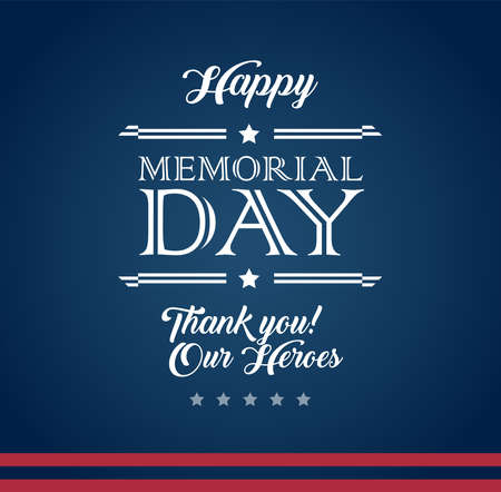 Vector happy Memorial Day blue background with text