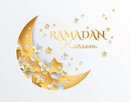 Ramadan Kareem golden and platinum crescent moon and stars background - ramadan eid mubarak vector illustration Illustration