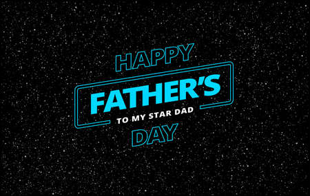 Happy Father's Day vector greeting card space theme background
