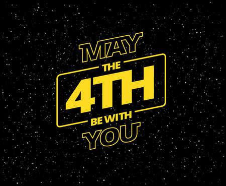 Möge der 4. mit Ihnen sein - Feiertagsgrüße Vektorillustration - gelbe Buchstaben im schwarzen Sternenhimmel