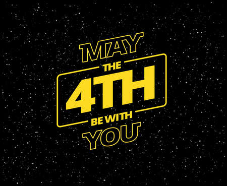May the 4th be with you - holiday greetings vector illustration - yellow letters in black starry sky Ilustrace