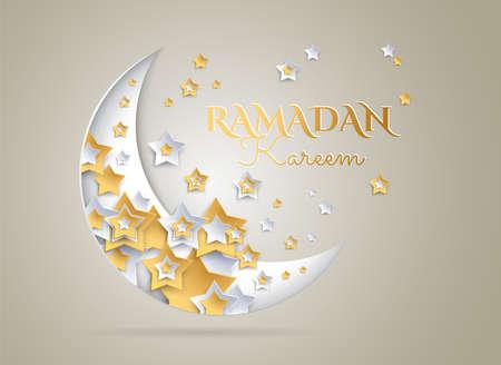 Ramadan Kareem golden background with beautiful moon and stars - vector illustration 向量圖像