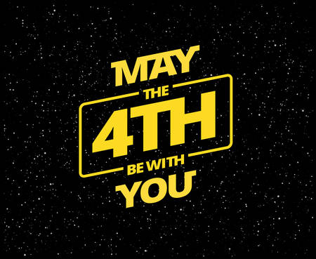 May the 4th be with you - holiday greetings vector illustration - yellow text 'May the 4th be with you' on starry background Иллюстрация