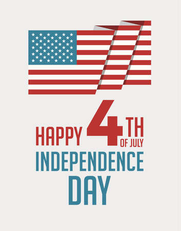 Happy 4th of July Independence Day USA poster, greeting card, brochure cover, flyer, patriotic banner for website header template. July 4th typographic design. Vector illustration