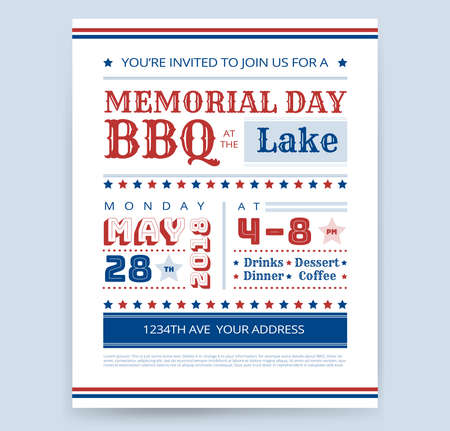 Memorial Day Barbeque BBQ invitation design template vector barbecue party flyer sample Stock Vector - 101984781