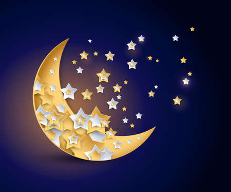 Beautiful moon and shining stars night vector illustration