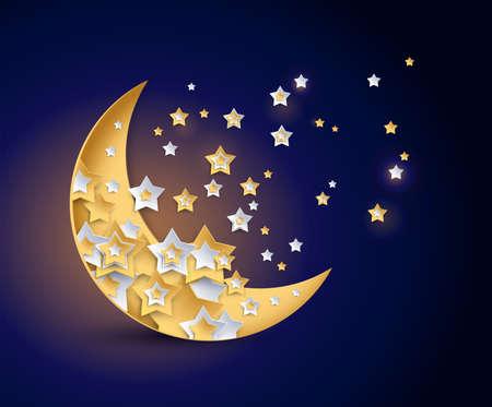 Beautiful moon and shining stars night vector illustration