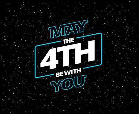 Möge der 4. mit Ihnen sein - Feiertagsgrußkarte - Vektor blaue und weiße Buchstaben im schwarzen Sternenhimmel Vektorgrafik
