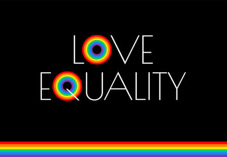 Pride month love and equality rainbow flag illustration - vector graphic for pride festival, march, event celebration lesbian, gay - black background