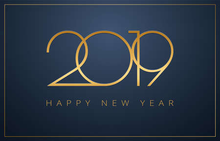 Classy 2019 Happy New Year background. Golden design for Christmas and New Year 2019 greeting cards. Vector background in gold and dark blue color Illustration