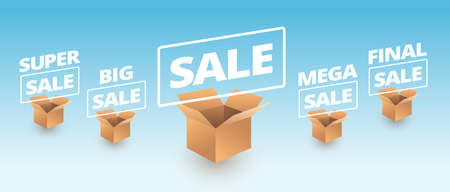 Sale banner delivery cardboard boxes icons - super sale, big, mega, final sale text vector illustration Иллюстрация