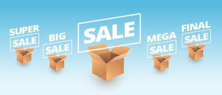 Sale banner delivery cardboard boxes icons - super sale, big, mega, final sale text vector illustration Illustration