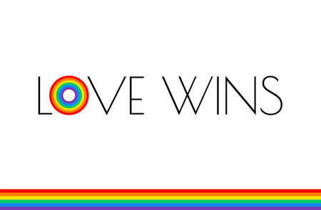 Love wins - Pride month rainbow flag typography with pride rainbow - love wins text on white background