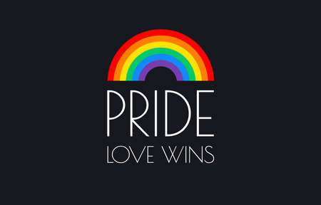 Pride love wins text and rainbow flag isolated on black background Illustration