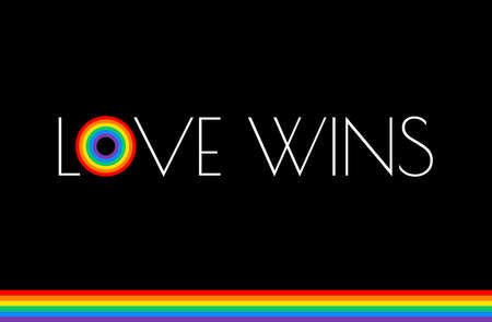 Love wins - Pride month rainbow flag typography with pride rainbow - love wins text on black background Illustration