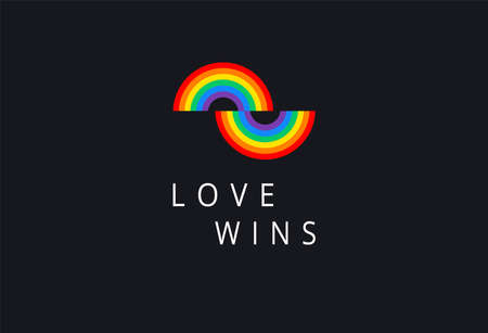 Love wins - Pride event rainbow flag typography with pride rainbow - love wins text on black background vector illustration