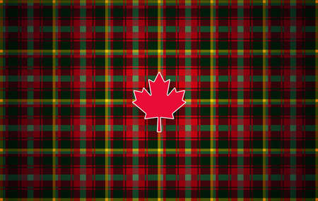 Canadian maple leaf tartan. Abstract modern background inspired by the national tartan of Canada. It reflects colors of the maple leaves - red, green, golden, brown. Vector illustration for Canada