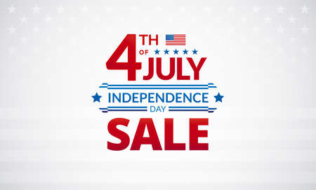 Happy 4th of July Independence Day USA sale banner or logo with American flag - vector illustration for 4th of July event celebration