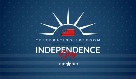 Independence Day USA blue background for greeting card, banner, social media advertising, 4th of July sale, event, party - vector illustration Ilustração