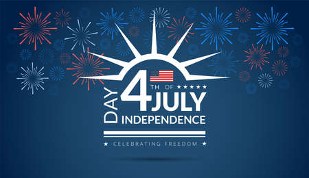 Happy 4th of July Independence Day USA blue background with the United States flag and 4th of July typography - vector illustration Ilustração