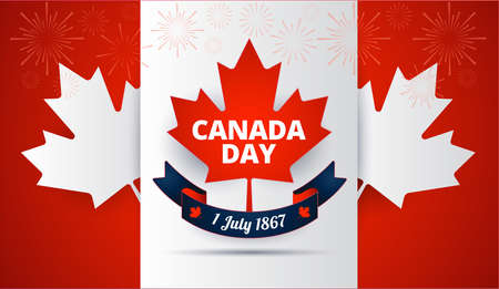 Canada Day red background with Canada maple leaf, Canadian flag, holiday ribbon vector illustration