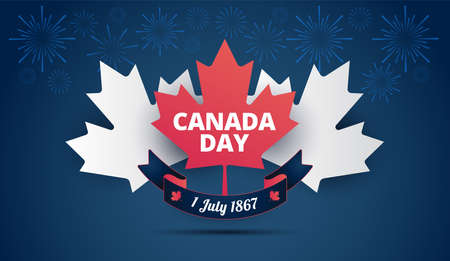 Canada Day blue background with Canada maple leaf, Canadian flag, holiday ribbon, fireworks - vector illustration background