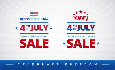 Happy 4th of July Independence Day USA sale banner or logo with American flag - vector illustration for 4th of July Celebrate freedom event Ilustração
