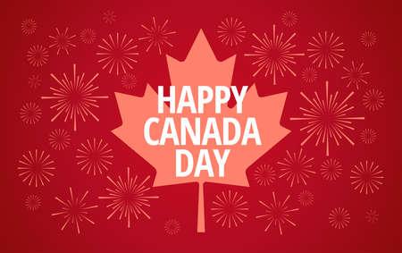 Happy Canada Day fireworks celebration greeting card vector background - Canada maple leaf, fireworks, Happy Canada Day celebration typography