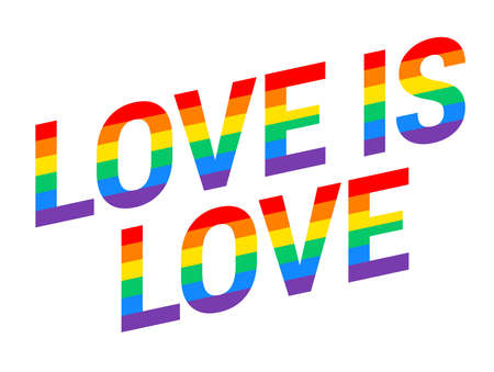 Pride Love is love rainbow text diagonal isolated on white background - vector illustration for Pride month event, Pride parade, t-shirt design etc