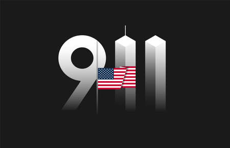911 Patriot Day, September 11 vector illustration with the flag of the United States flown at half-staff, 911 twin towers art on black background Ilustração