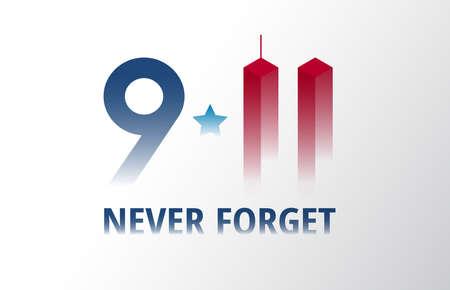 Patriot Day September 11 poster vector illustration. We will never forget 911 lettering patriotic banner background