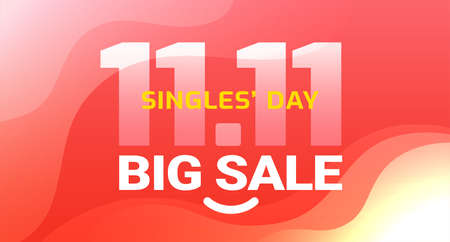 Singles Day sale abstract red background with yellow text Singles' Day, 11.11 date typography, Big Sale, and smile. Beautiful modern sale banner with waves for the holiday of being alone and Single.
