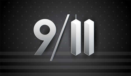 911 Art for September 11 USA - Patriot Day vector banner, black and white illustration. National Day of Prayer and Remembrance for the Victims of the Terrorist Attacks on September 11, 2001