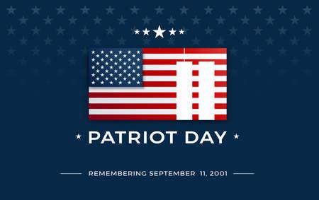Patriot Day background with text - Remembering September 11, 2001 - the United States flag on dark blue background w stars, stripes - patriot day 911 vector illustration Ilustração
