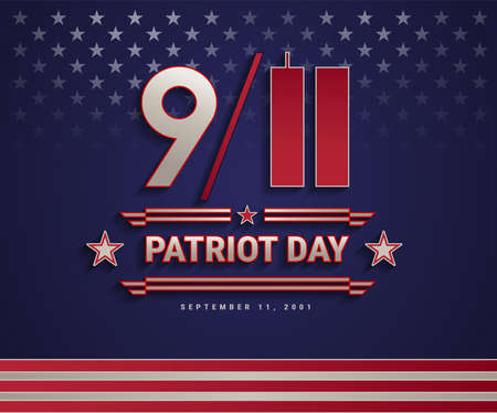 Patriot Day USA September 11, 2001, the United States National Remembrance Day patriotic background with 911 and Patriot Day text. Vector illustration