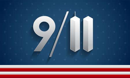 9/11 vector illustration Patriot Day USA, 911 Memorial background for September 11, 2001 attacks remembrance day design Vetores