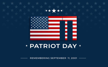 Patriot Day background with USA flag and text - Remembering September 11, 2001 - the United States flag on dark blue background w stars, stripes - patriot day 911 vector illustration