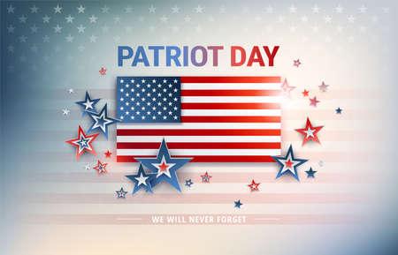 Patriot Day USA flag vector background. The United States flag in sunshine light, Patriot Day, We Will Never Forget text, proud flag illustration for patriotic banner,greeting card, US national event Ilustração