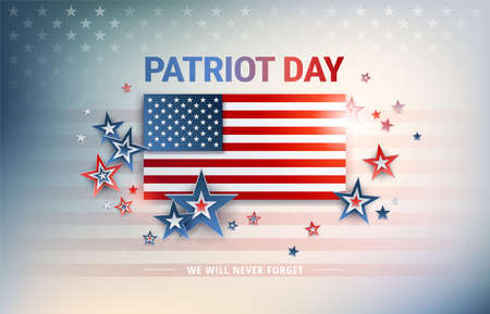 Patriot Day USA flag vector background. The United States flag in sunshine light, Patriot Day, We Will Never Forget text, proud flag illustration for patriotic banner,greeting card, US national event Illustration