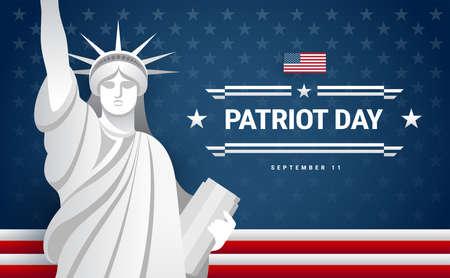 Patriot Day banner design - USA flag, text Patriot Day September 11, statue of Liberty, dark blue background - vector illustration for greeting card Ilustração